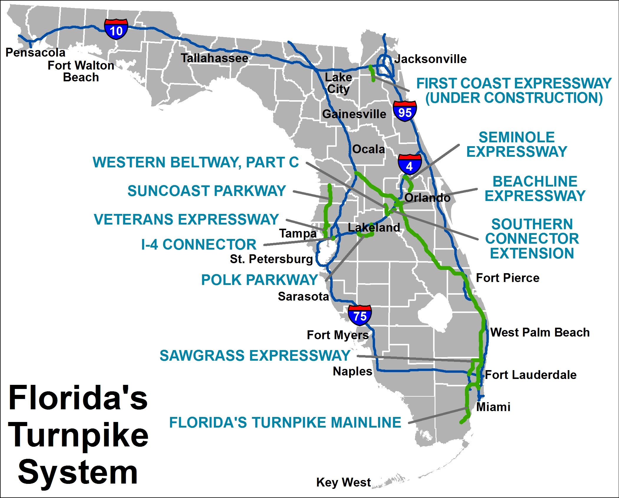 Florida Turnpike Map Turnpike Information Florida Turnpike Map